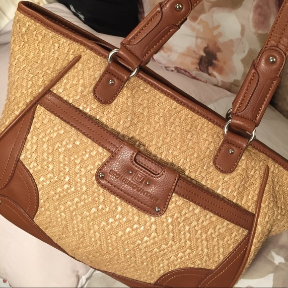... khaki canvas w brown handles trim stone mountain accessories bags stone  mountain handbag . ... 05e6de67951a1